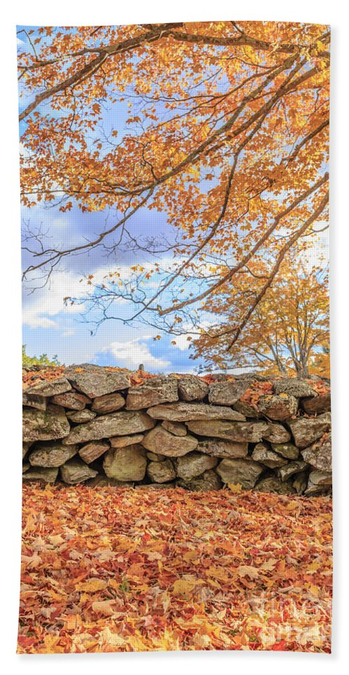 Autumn Hand Towel featuring the photograph New England Stone Wall With Fall Foliage by Edward Fielding