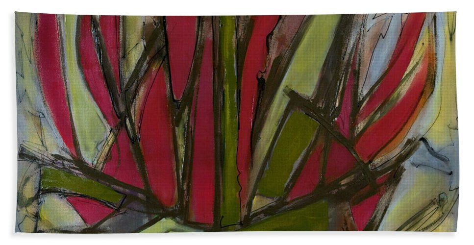 Abstract Bath Sheet featuring the painting New Growth by Lynne Taetzsch