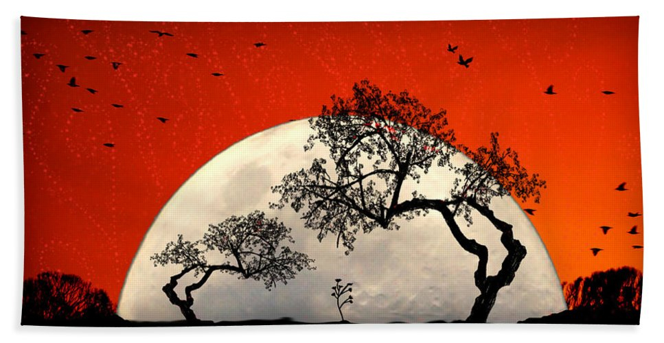 Moon Hand Towel featuring the digital art New Growth New Hope by Holly Kempe