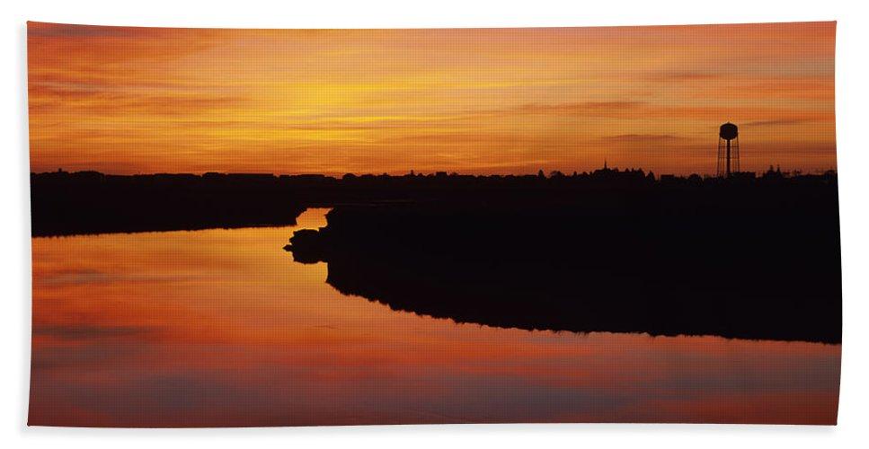 Atlantic Ocean Bath Sheet featuring the photograph New Hampshire Salt Marsh At Sunrise by Erin Paul Donovan