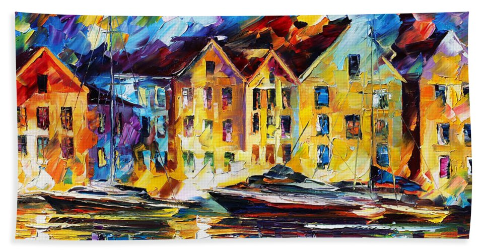 Afremov Bath Sheet featuring the painting New Harbor by Leonid Afremov