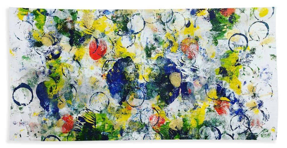 Abstract Bath Sheet featuring the painting New Haven No 1 by Marita Esteva