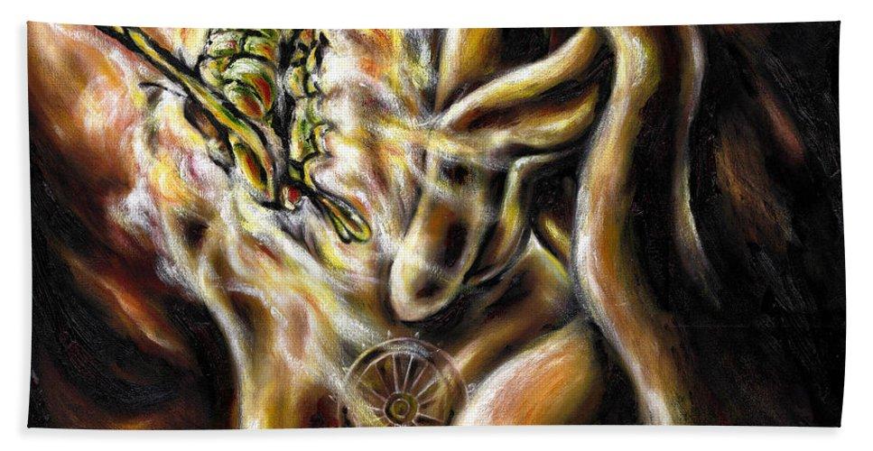 Spiritual Hand Towel featuring the painting New Journey by Hiroko Sakai