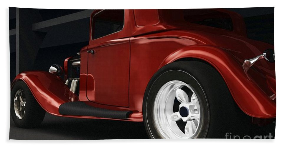 Street Rods Bath Towel featuring the digital art New Kid In Town by Richard Rizzo