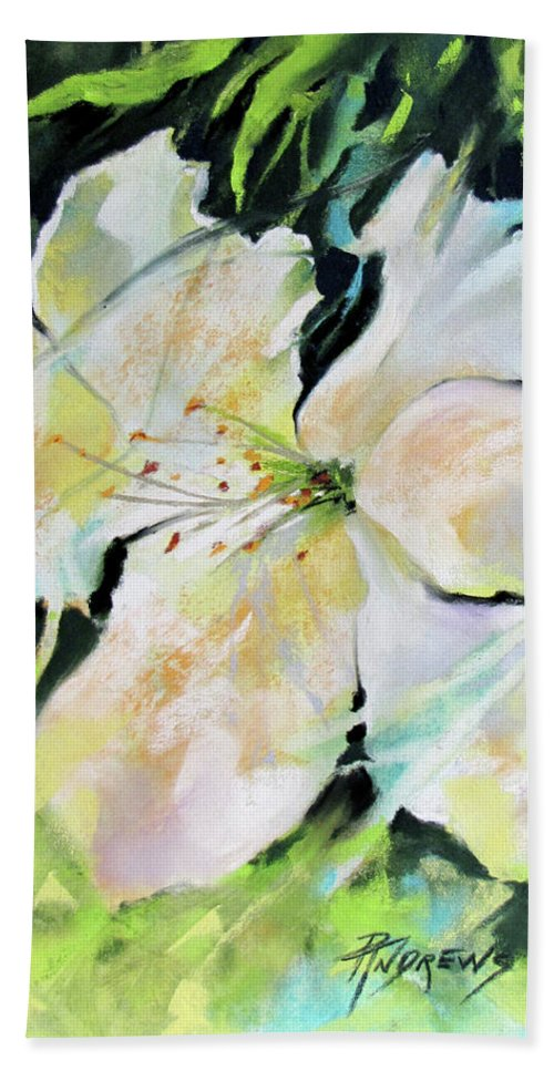 Workshops Hand Towel featuring the painting New Life by Rae Andrews
