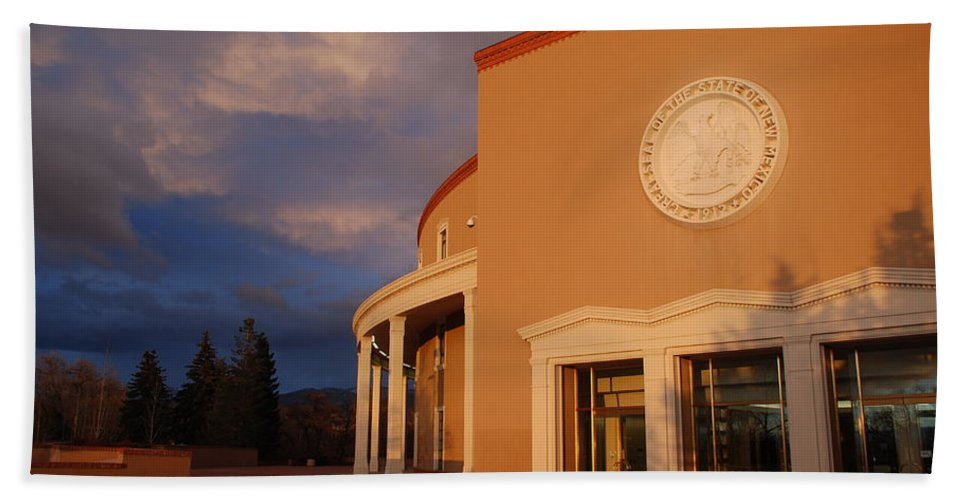 Architecture Bath Sheet featuring the photograph New Mexico State Capital Building by Rob Hans