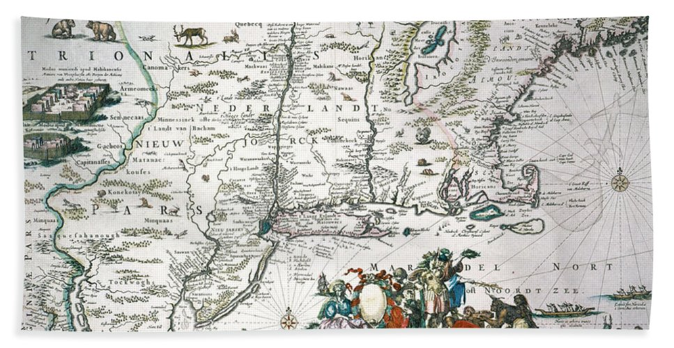 1673 Hand Towel featuring the photograph New Netherland Map by Granger