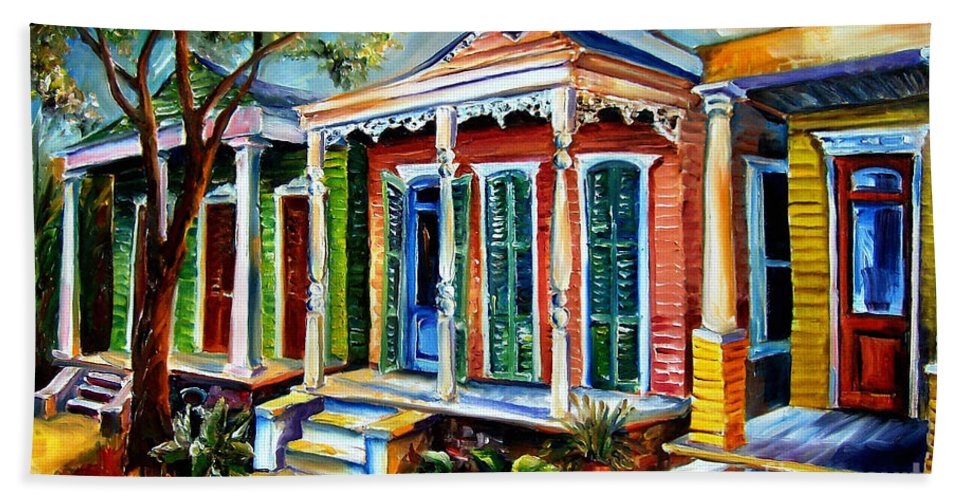 New Orleans Paintings Hand Towel featuring the painting New Orleans Plain And Fancy by Diane Millsap