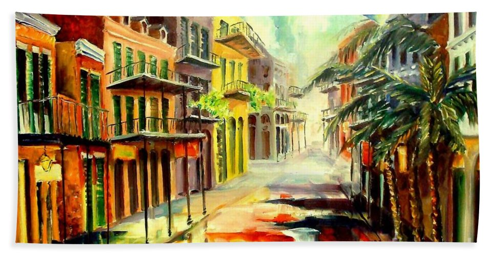 New Orleans Hand Towel featuring the painting New Orleans Summer Rain by Diane Millsap