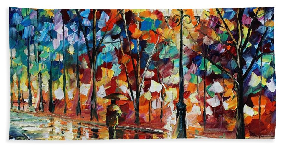 Afremov Bath Sheet featuring the painting New Park by Leonid Afremov