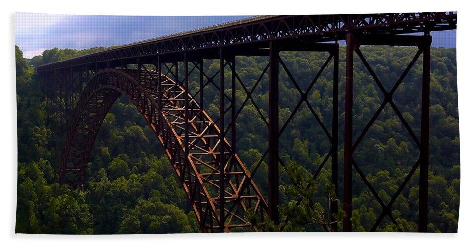 Bridge Hand Towel featuring the photograph New River Bridge by Pat Turner