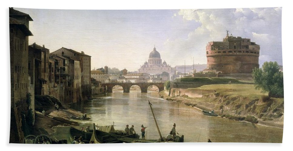 River Tiber Hand Towel featuring the painting New Rome With The Castel Sant Angelo by Silvestr Fedosievich Shchedrin