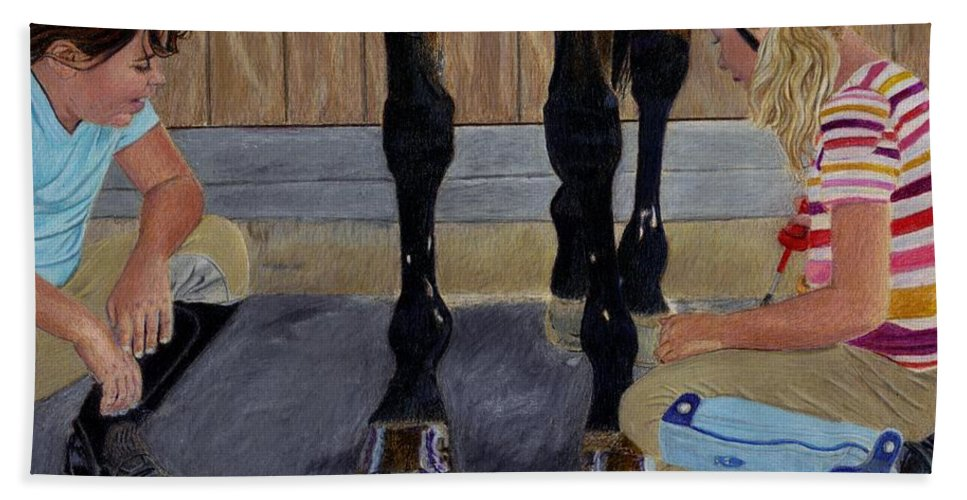 Children Hand Towel featuring the painting New Shoe Review Horse And Children Painting by Patricia Barmatz