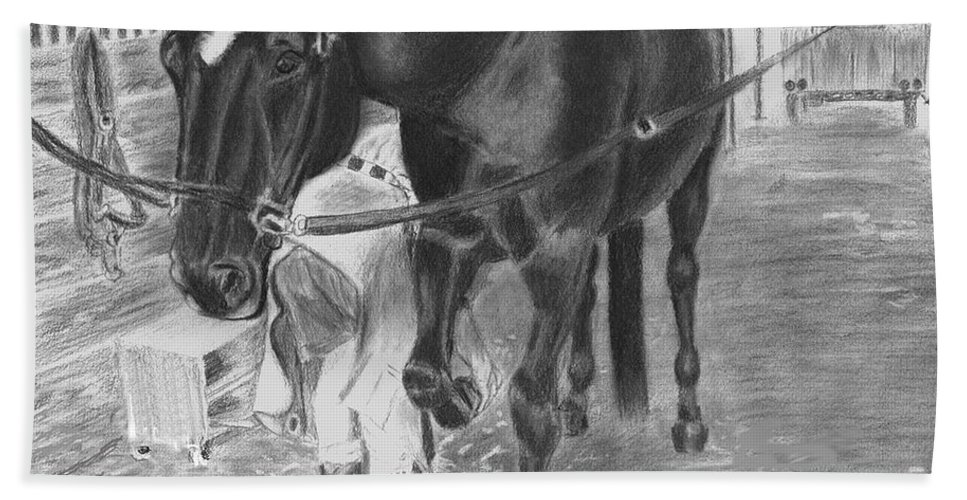 Horse Hand Towel featuring the drawing New Shoes by Quwatha Valentine