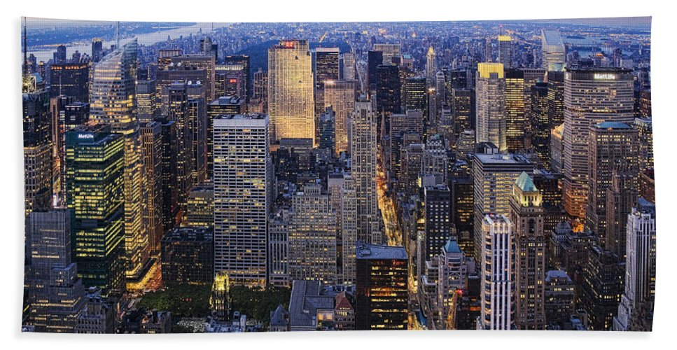 New York City Hand Towel featuring the photograph New York At Night by Kelley King