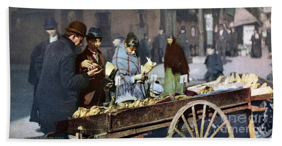 1900 Hand Towel featuring the photograph New York: Banana Cart by Granger