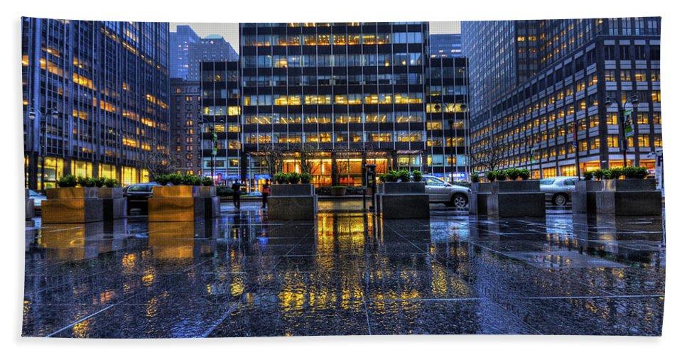 New York Bath Sheet featuring the photograph New York Blues by Evelina Kremsdorf