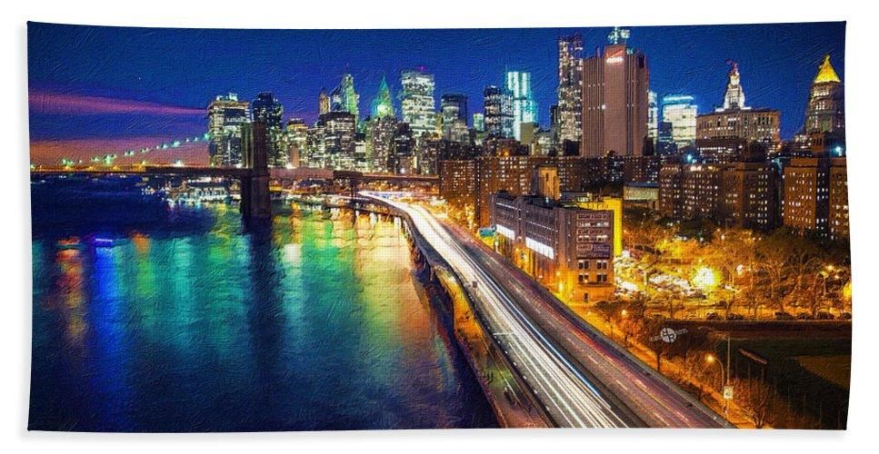 Manhattan Bridge Hand Towel featuring the painting New York City Lights Blue by Tony Rubino