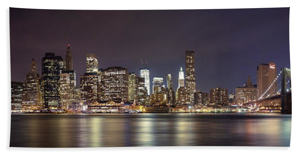 New York City Hand Towel featuring the photograph New York City - Manhattan Waterfront At Night by Thomas Richter