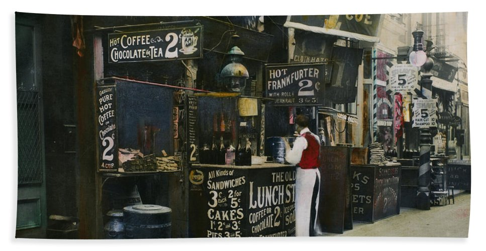 1905 Hand Towel featuring the photograph New York City Restaurant by Granger