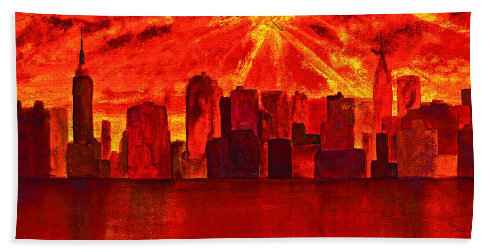 Queens Hand Towel featuring the painting New York City Skyline Golden Sunrise by Ken Figurski