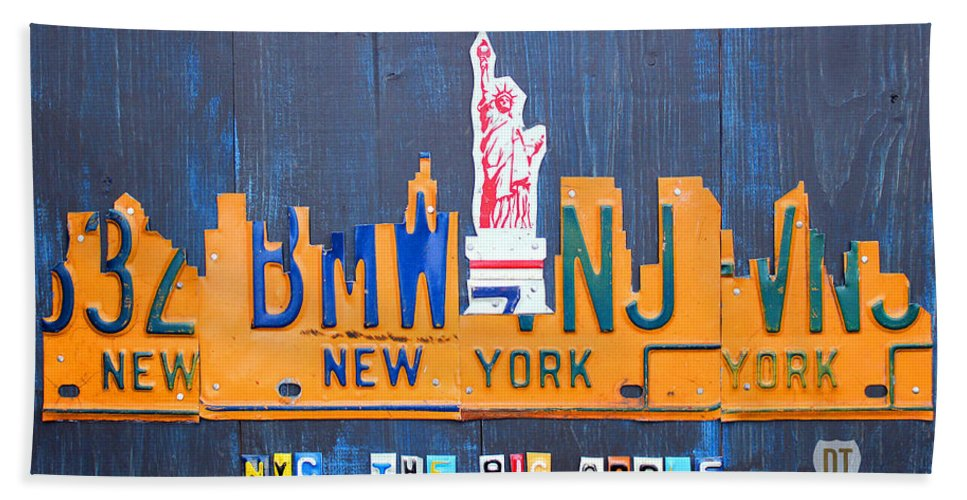 New York Hand Towel featuring the mixed media New York City Skyline License Plate Art by Design Turnpike