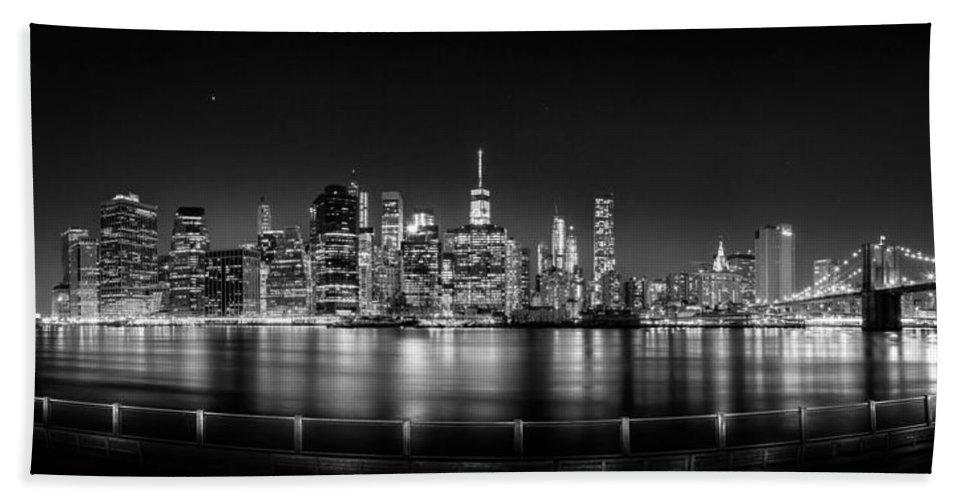 New York City Skyline Hand Towel featuring the photograph New York City Skyline Panorama At Night Bw by Az Jackson