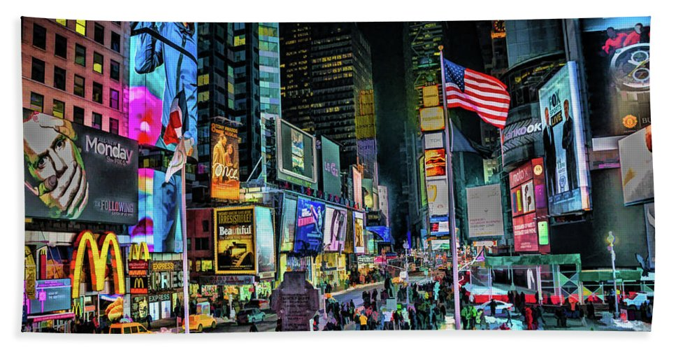 New York Bath Towel featuring the painting New York City Times Square by Christopher Arndt