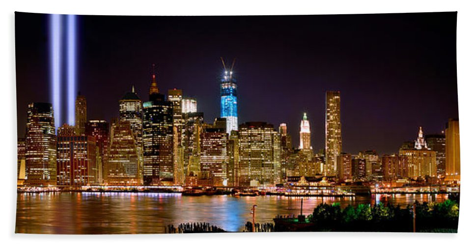 New York City Skyline At Night Hand Towel featuring the photograph New York City Tribute In Lights And Lower Manhattan At Night Nyc by Jon Holiday
