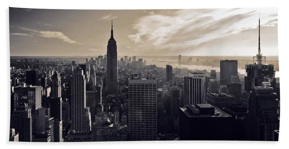 New York Bath Sheet featuring the photograph New York by Dave Bowman