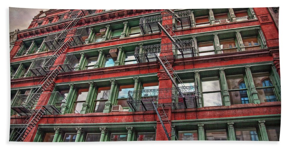 New York Hand Towel featuring the photograph New York Fire Escapes by Hanny Heim
