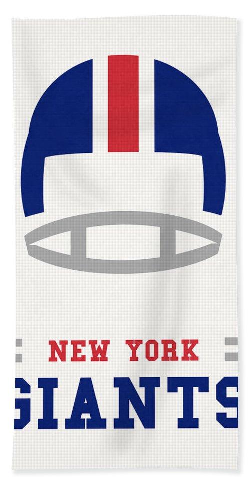 Giants Bath Towel featuring the mixed media New York Giants Vintage Nfl Art by Joe Hamilton