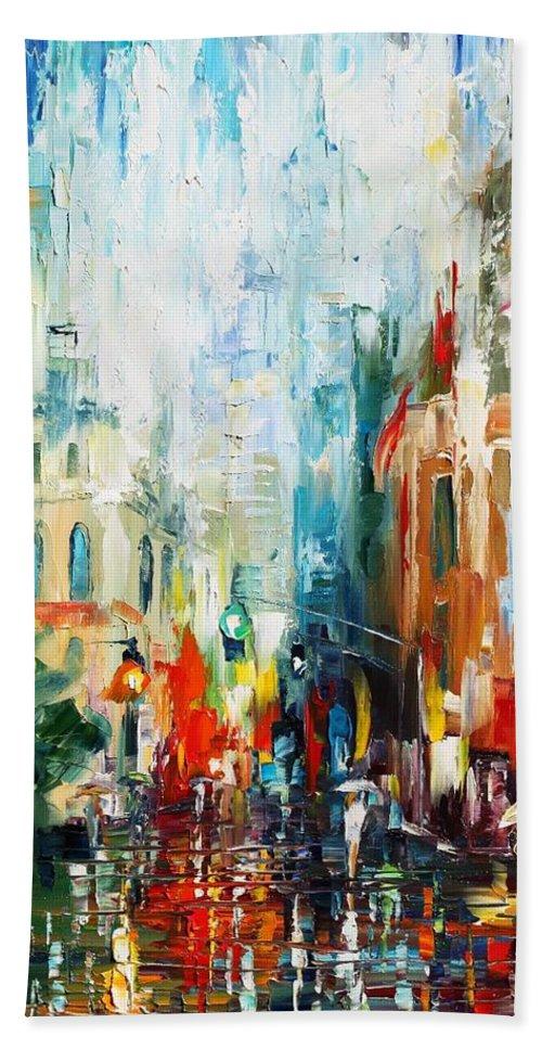 Afremov Bath Sheet featuring the painting New York by Leonid Afremov