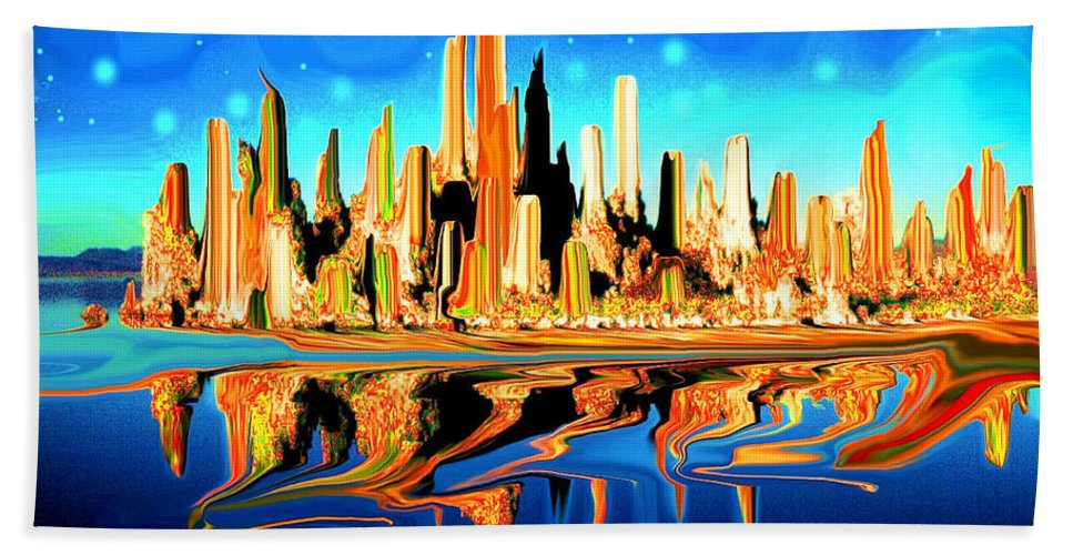 New+york Bath Sheet featuring the painting New York Skyline Blue Orange - Modern Art by Peter Potter