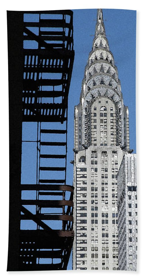 Chrysler Building Bath Sheet featuring the photograph New York Watercolor 3 by Andrew Fare