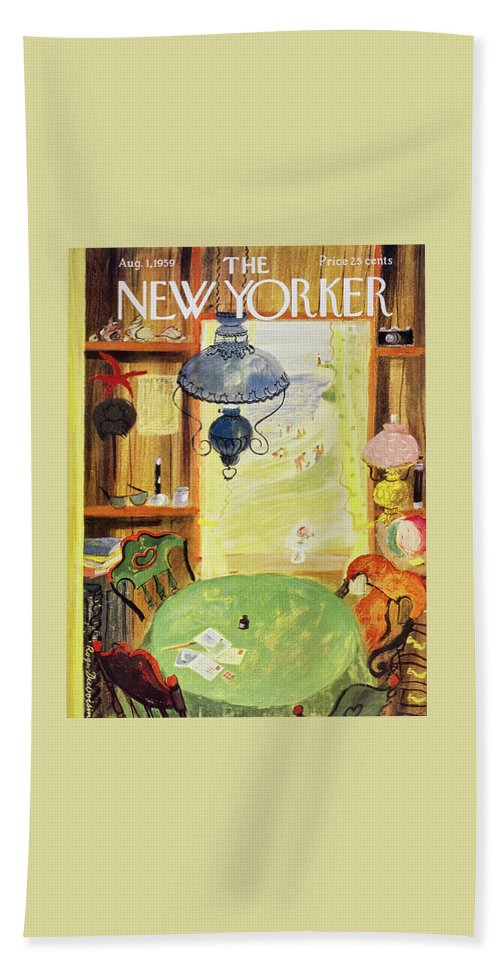 Vacation Bath Sheet featuring the painting New Yorker August 1 1959 by Roger Duvoisin