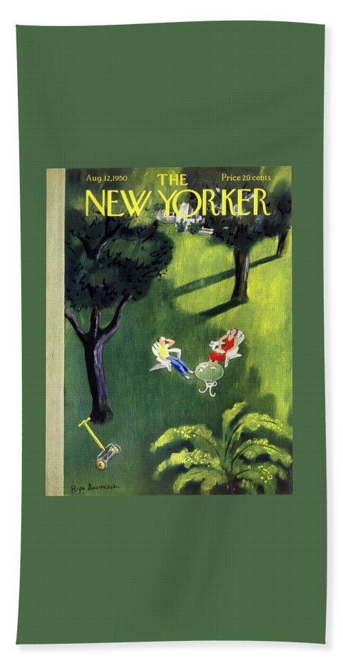 Couple Bath Sheet featuring the painting New Yorker August 12 1950 by Roger Duvoisin