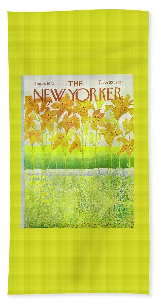 Flowers Bath Sheet featuring the drawing New Yorker August 26 1972 by Ilonka Karasz