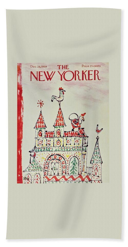 Santa Claus Bath Sheet featuring the painting New Yorker December 26 1959 by William Steig