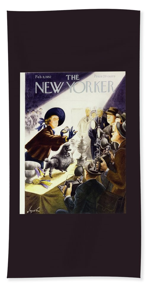 Illustration Bath Sheet featuring the painting New Yorker February 9 1952 by Constantin Alajalov