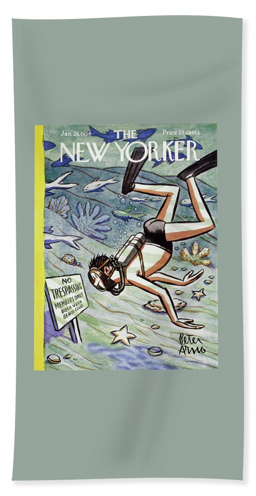 Scuba Bath Sheet featuring the painting New Yorker January 28 1956 by Peter Arno