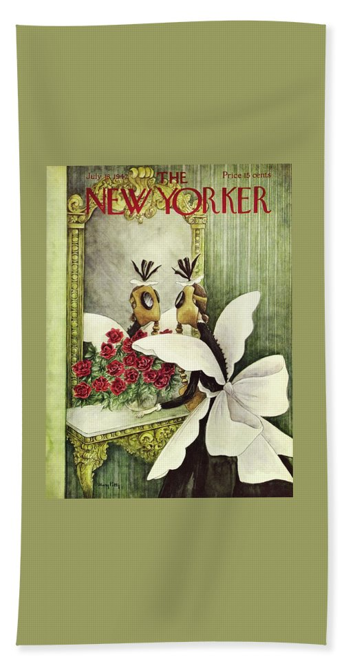 Maid Bath Sheet featuring the painting New Yorker July 18 1942 by Mary Petty