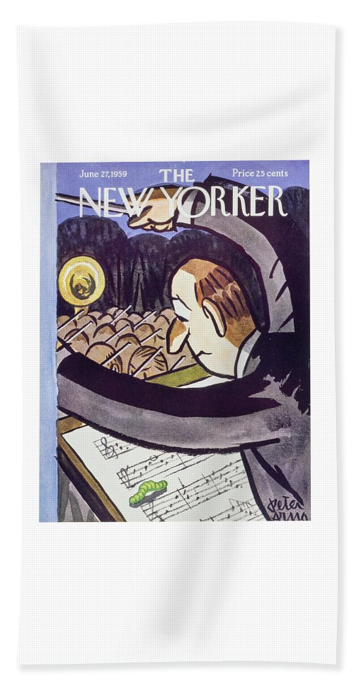 Conductor Bath Sheet featuring the painting New Yorker June 27 1959 by Peter Arno