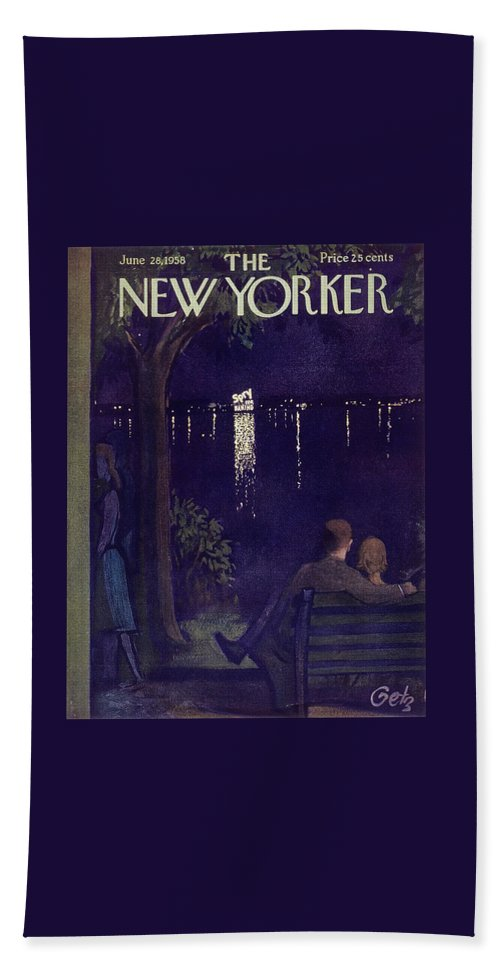 Couple Bath Sheet featuring the painting New Yorker June 28 1958 by Arthur Getz