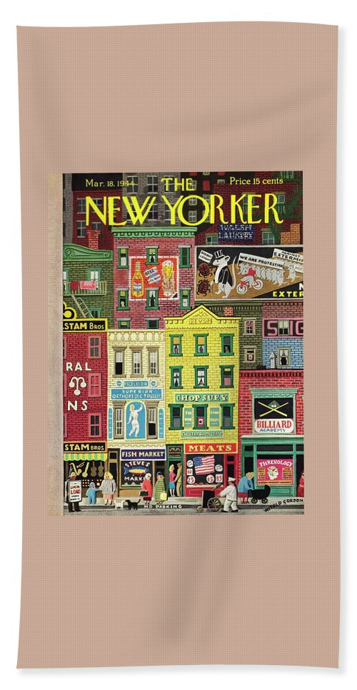 Street Bath Sheet featuring the painting New Yorker March 18 1944 by Witold Gordon