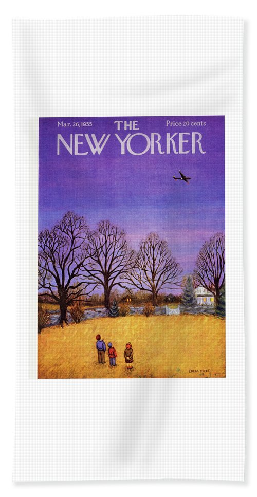 Children Bath Sheet featuring the painting New Yorker March 26, 1955 by Edna Eicke