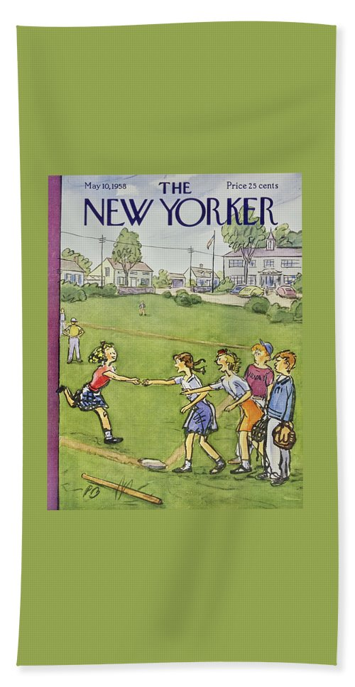Girls Bath Sheet featuring the painting New Yorker May 10 1958 by Perry Barlow