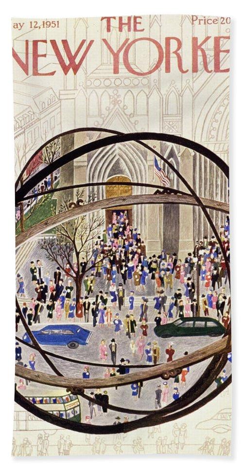 Parishioners Bath Sheet featuring the painting New Yorker May 12 1951 by Ilonka Karasz