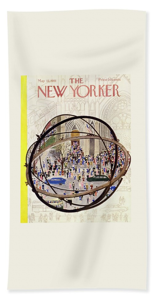 Parishioners Bath Sheet featuring the painting New Yorker May 12 1951 by Ilonka Karasz