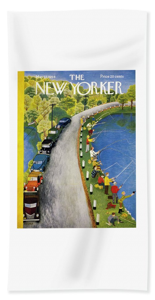 Weekend Bath Sheet featuring the painting New Yorker May 22 1954 by Ilonka Karasz